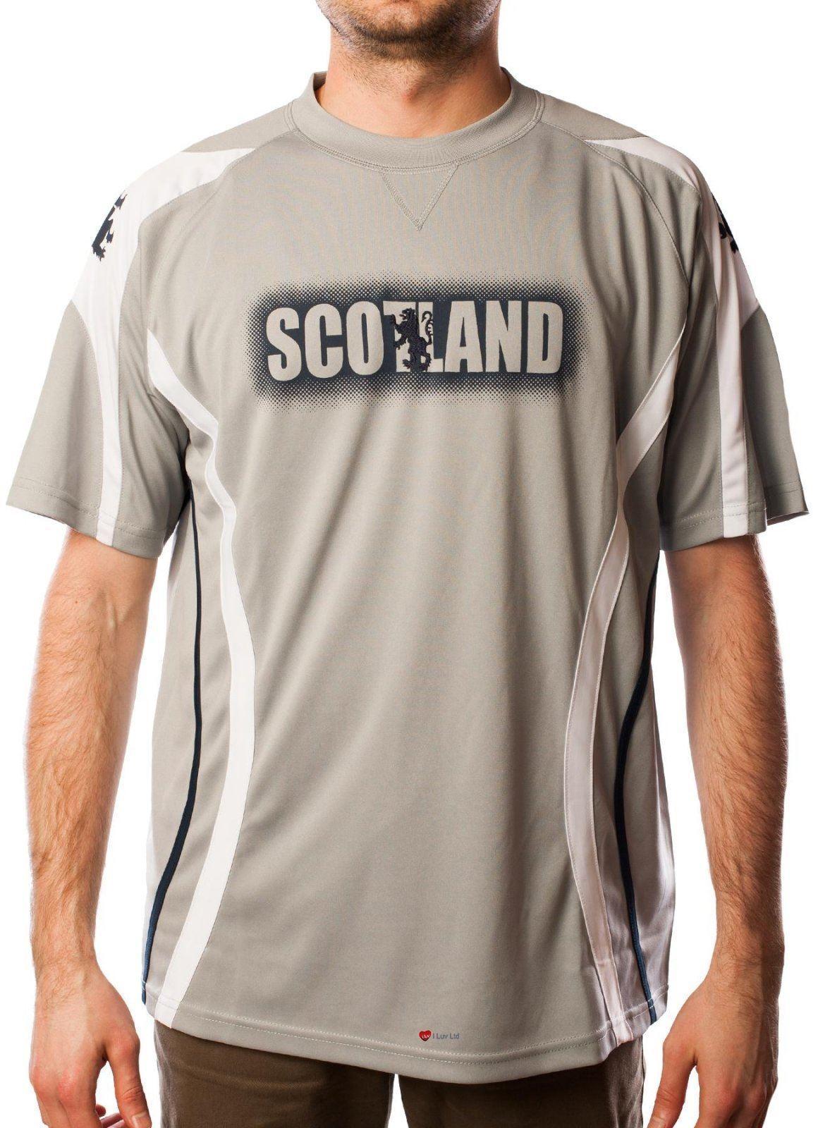 Mens Cool T-Shirt Rampant Lion Scotland Grey White Piping Size Medium