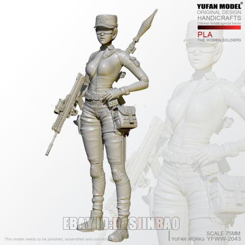 Unpainted 1//24 75MM Women Special Forces Resin Figure Model Kit Unassembled GK