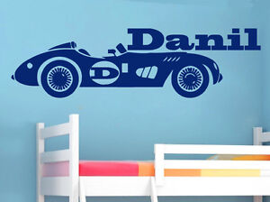 Image Is Loading Wall Decals Boy Custom Name Kids Art Racing
