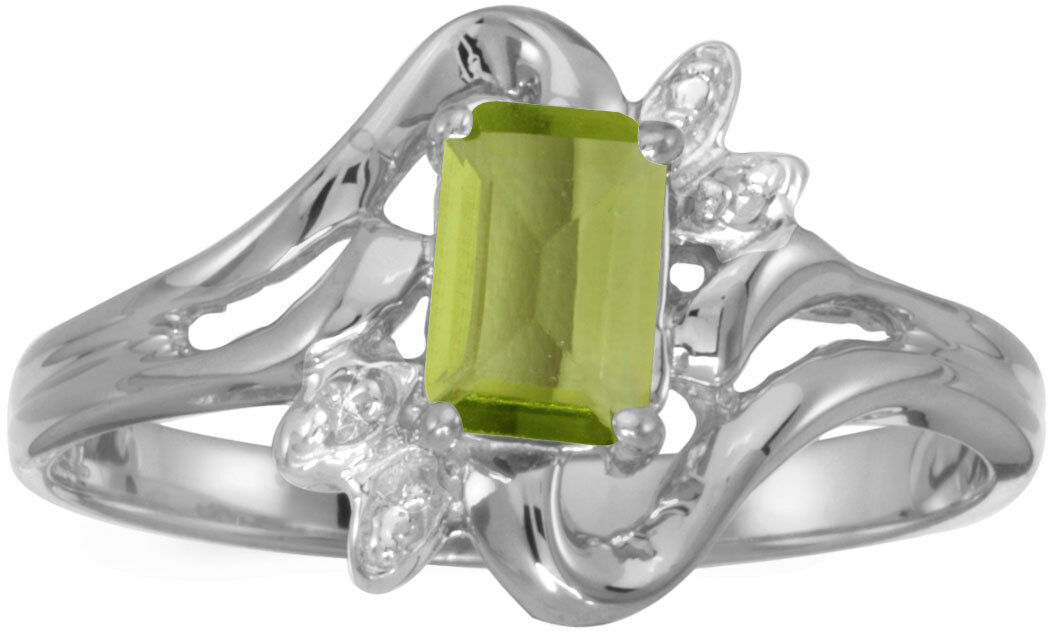 14k White Gold Oval Peridot And Diamond Ring CM-RM1678XW-08