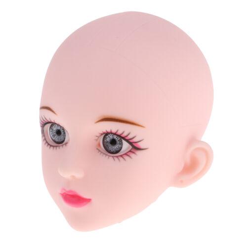 Lifelike Girl Head Custom Parts Supplies with Gray Eyes for 1//4 BJD OB Doll