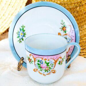Vintage Demitasse Cup & Saucer Set Occupied Japan Multicolor Floral Blue Trim