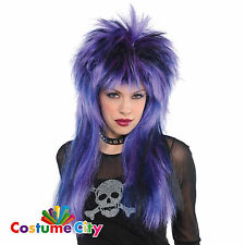 Adults Purple Black & Blue Rock Steady Wig Fancy Dress Costume Accessory
