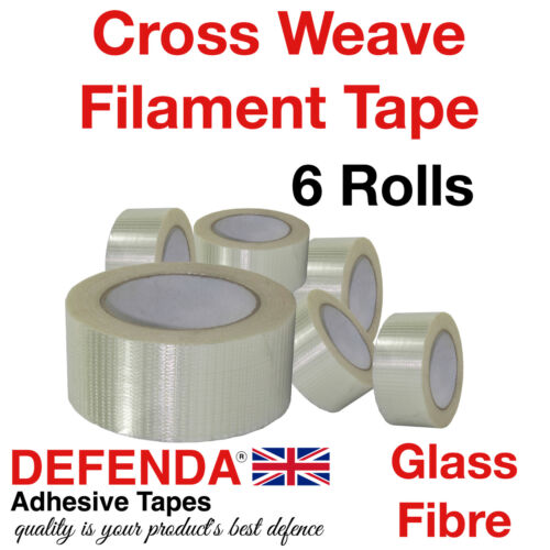6 x Rolls CROSS WEAVE Glass Filament Reinforced Tapes 50m-50mm X Weave Packing
