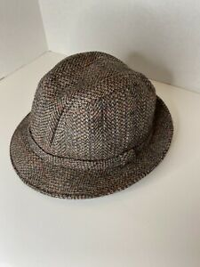 Vintage-London-Fog-Hat-Brown-Tweed-Bucket-Hat-Size-XL-7-1-2-7-5-8-Made-In-USA
