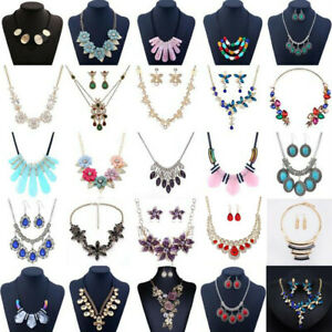 Fashion-Women-Crystal-Bib-Necklace-Pendant-Chain-Statement-Choker-Chunky-Jewelry