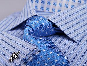 Blue-Fleur-De-Lis-Striped-Formal-Business-Dress-Shirt-Optional-Matching-Tie-Set