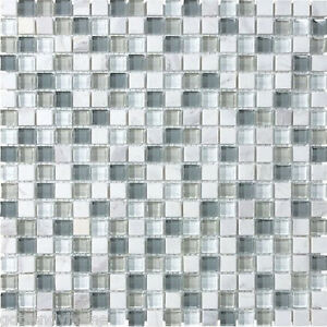 Image Is Loading 1 SF White Blue Stone Glass Mosaic Tile
