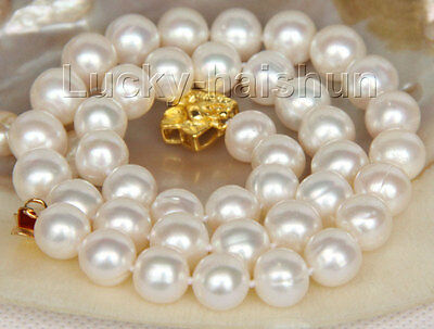 "luster 17"" 11mm natural round white pearls necklace gold plated clasp j9838"