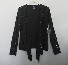 NWT $348 BLACK Saks Fifth Avenue Sequin 100% Cashmere Black Open Style Sweater S