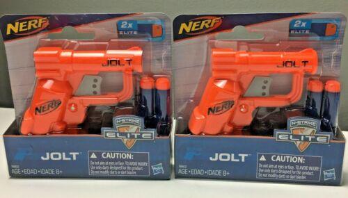 Lot of 2 NERF Jolt N-Strike Elite Blaster Orange w// 2 Darts NEW