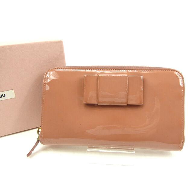 miumiu Wallet Purse Long Wallet Pink Woman Authentic Used Y5567