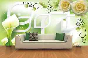 Carta Da Parati Rosa Bianca : 3d rosa bianca fiori parete murale carta da parati immagine sfondo