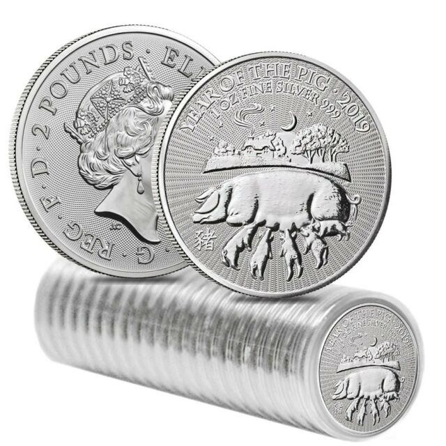 Roll of 20 - 2019 Great Britain 1 oz Silver Year of the Pig Coin .999 Fine BU In