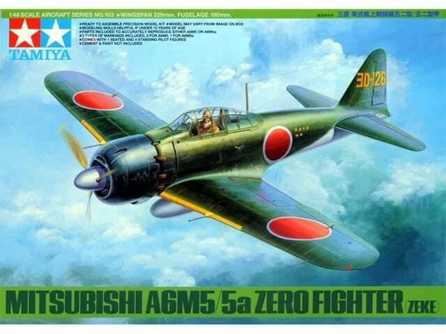 TAMIYA 1:48 KIT AEREO DA MONTARE MITSUBISHI A6M5/5A ZERO FIGHTER ZEKE ART 61103