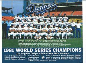 1981 WORLD SERIES CHANPIONS LOS ANGELES DODGERS TEAM 8x10 PHOTO