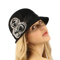 Winter Wool 1920s Flapper Faux Fur Satin Hatband Cloche Bucket Church Hat Black