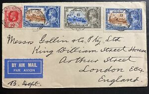 1935-Port-Louis-Mauritius-Airmail-Cover-To-London-England-Jubilee-Stamps