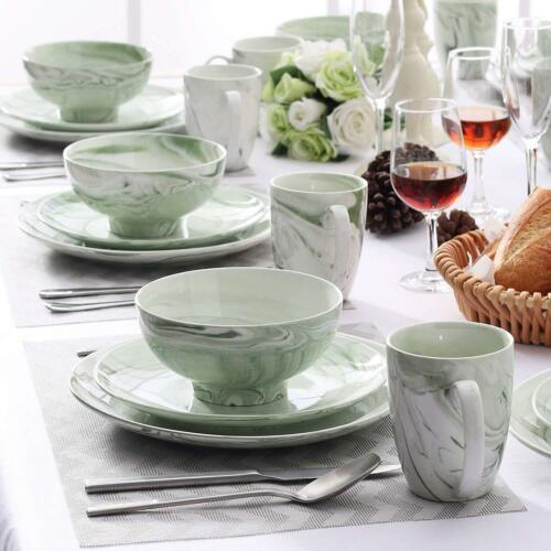 16pc Dinner Set Crockery Dining Plates Dessert Plate Cereal Bowls Cup Green Gift
