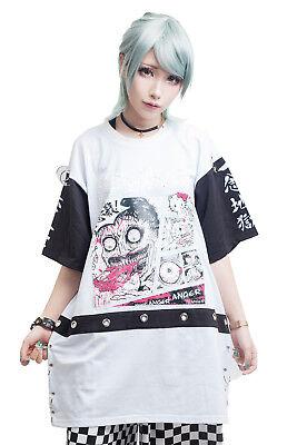 Street punk junji ito angry kitty telekinesis man geometric mosaic tee【JAG0033】