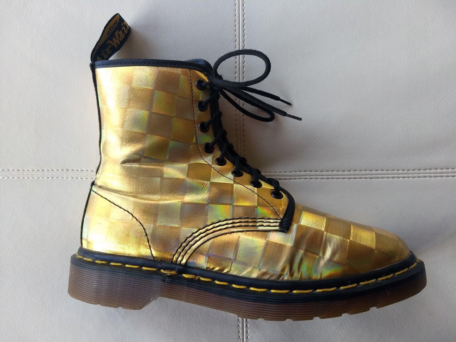 Doc botas Dr. Martens holográfica oro Metálico Metálico Metálico Hecho En Inglaterra Rara Vintage 7UK  protección post-venta