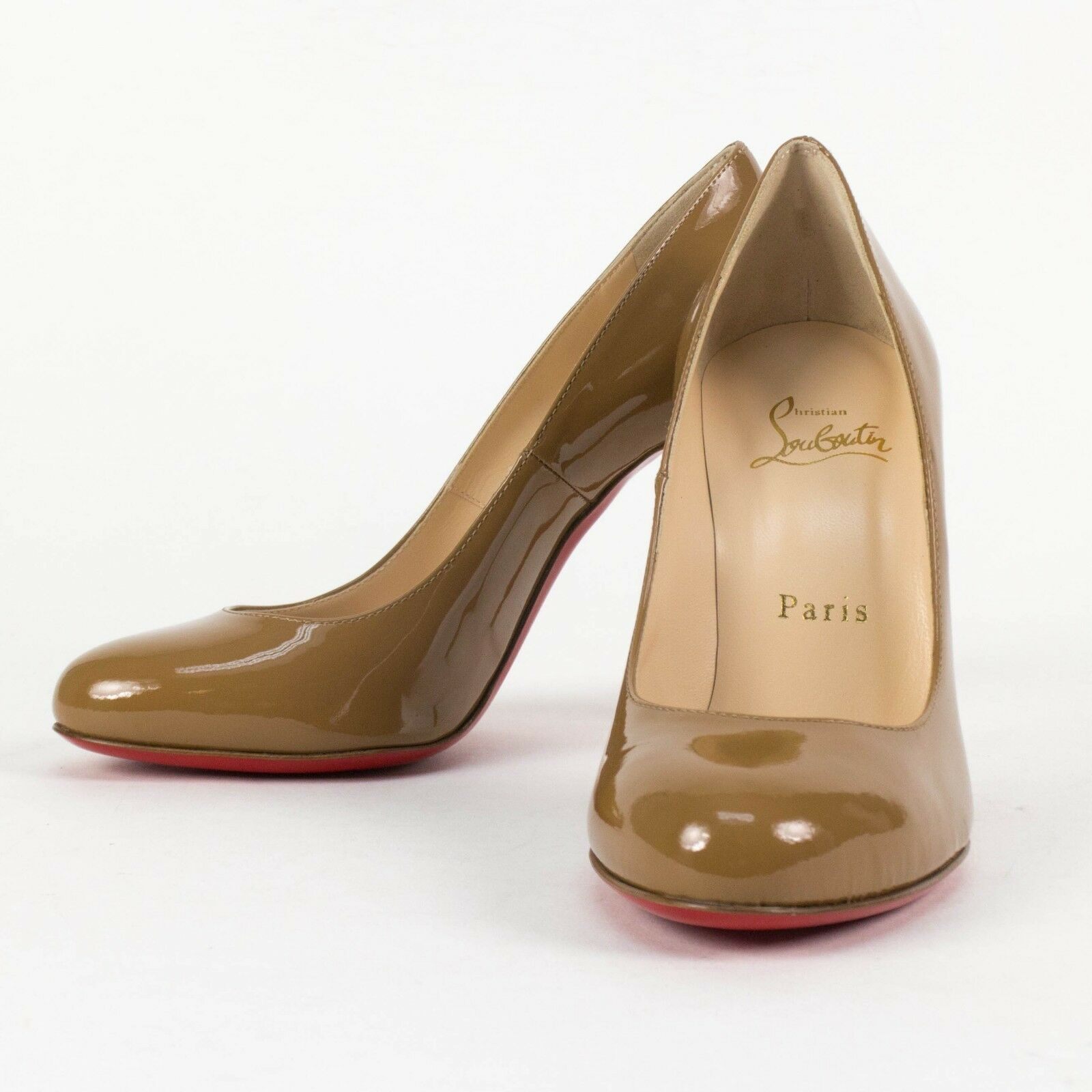 New CHRISTIAN LOUBOUTIN 'FIFI' Cool Beige Patent Leather Pumps Size 8 38