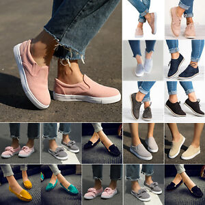 Womens-Comfy-Loafers-Sneakers-Flat-Slip-On-Trainers-Pumps-Walking-Casual-Shoes