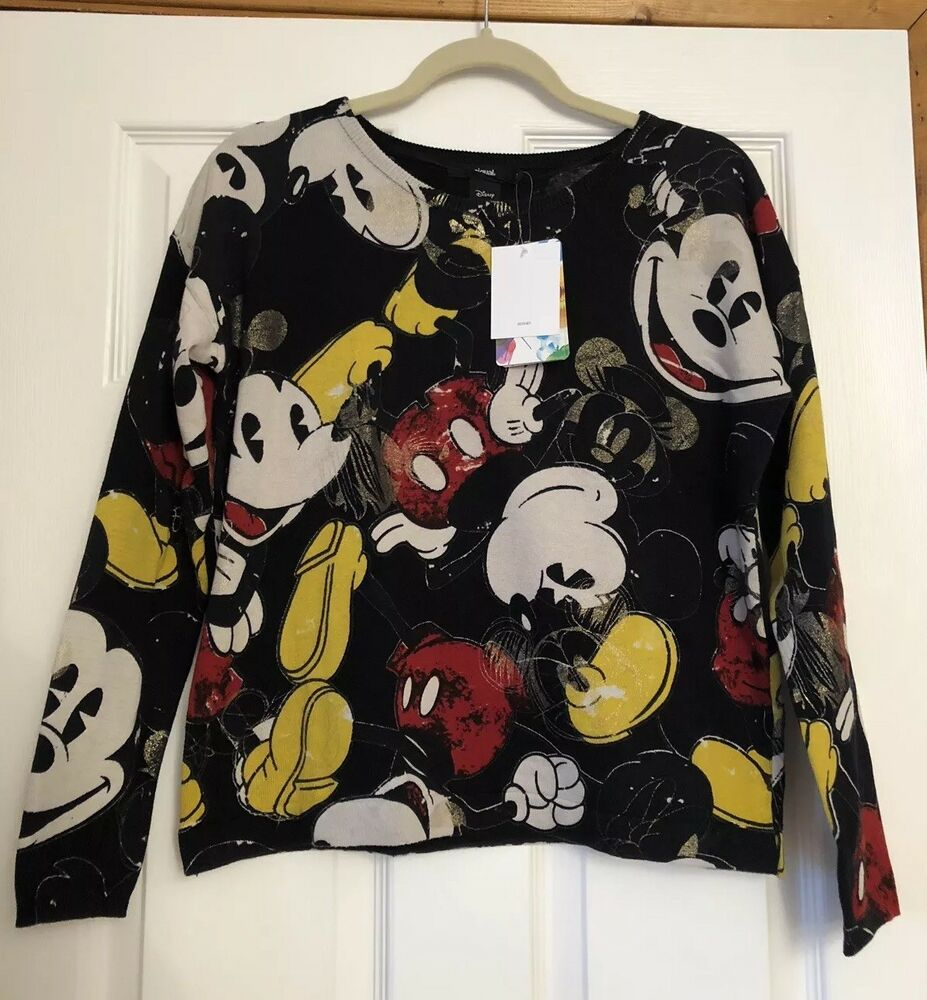 Aimable Nouveau Femme Desigual Disney Mickey Mouse Top Taille S Pull En Mailles 90th Bnwt