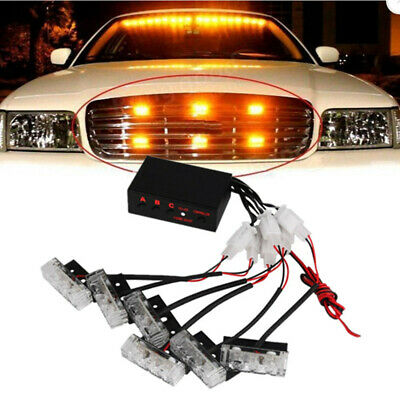 12 LED Car Strobe Flash Light Jackey Awesome Warning Emergency Lights Waterproof 16 Flashing Patterns Super Bright for Bar Car SUV Truck Van 2pcs, Amber