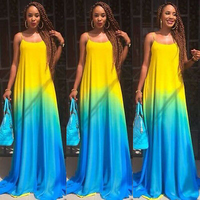 Women Sexy Boho Summer Casual Chiffon Evening Party Beach Long Maxi Dress