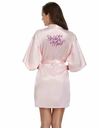 Personalised Women Bride Satin Bath Robe Wedding Bridesmaid Maid Of Honor Gown