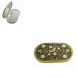 Damascene-Gold-Oval-Compact-Mirror-Dove-of-Peace-Design-by-Midas-of-Toledo-Spain