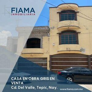 CASA EN VENTA EN OBRA GRIS EN FRACC. CD. DEL VALLE, TEPIC (EL)