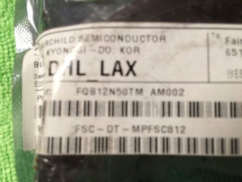 10 pcsFAIRCHILD SEMICONDUCTOR FQB12N50TM-AM002 MOSFET N-CH 500V 12.1A D2PAK Bx9