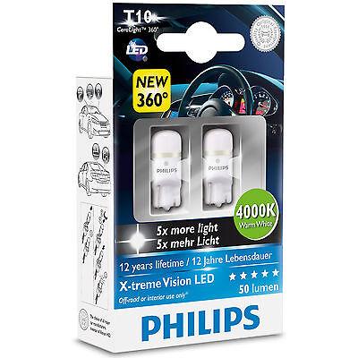 Philips X-treme Ultinon LED W5W 4000K Warm White Interior Car Bulbs (Twin)