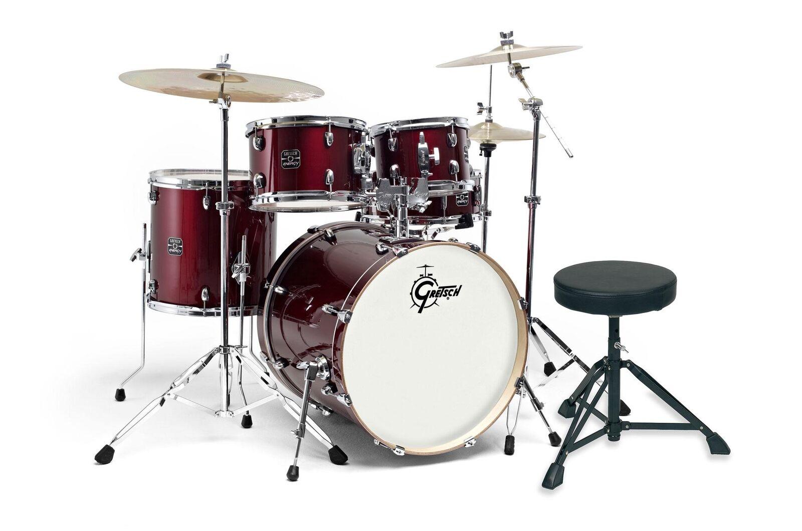 Gretsch Energy Drumkit Schlagzeug komplett Set 101 Becken Hocker Hardware rot