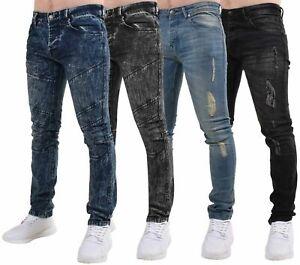 Hombres-Jeans-Ajustados-Slim-Fit-Pantalones-de-Algodon-Elastico-Denim-Pantalones-Informales-Cintura