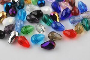 50Pcs-Teardrop-Drop-Faceted-Glass-Crystal-Loose-Spacer-Beads-Gifts-DIY-Making