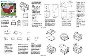Dog House Plans Gambrel / Barn Roof Style Design 90203B, Pet Size up ...