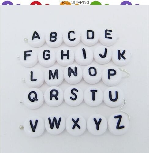 50pcs 4×7mm Bali Acrylic Individual Alphabet Letter Coin Round Flat Spacer Beads