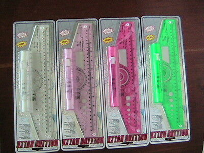 """2 Rolling Ruller 12"""" drafting tools 4  colors white, light pink, pink, green."""
