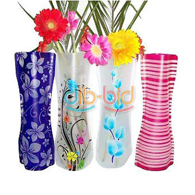 2/5/10Pcs Collapsible PVC Plastic Flower Vase Container Party Wedding SSAU With