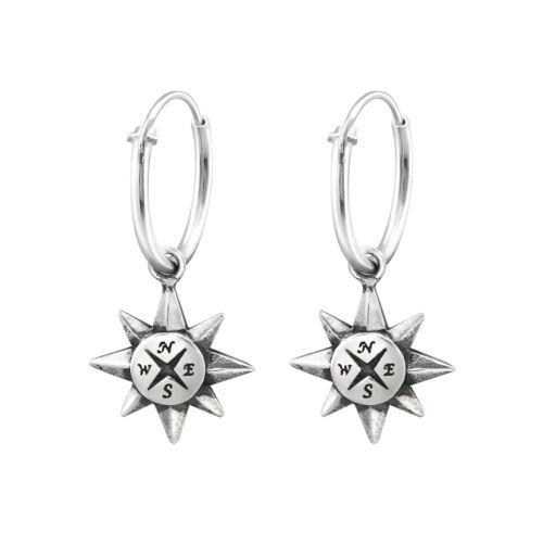 925 Sterling Silver Hoop Sleeper Earrings with Compass Pair