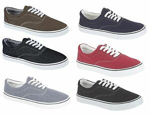NEW-MENS-BOYS-CASUAL-CANVAS-LACE-UP-FASHION-PUMPS-PLIMSOLES-SHOES-SIZES-7-12