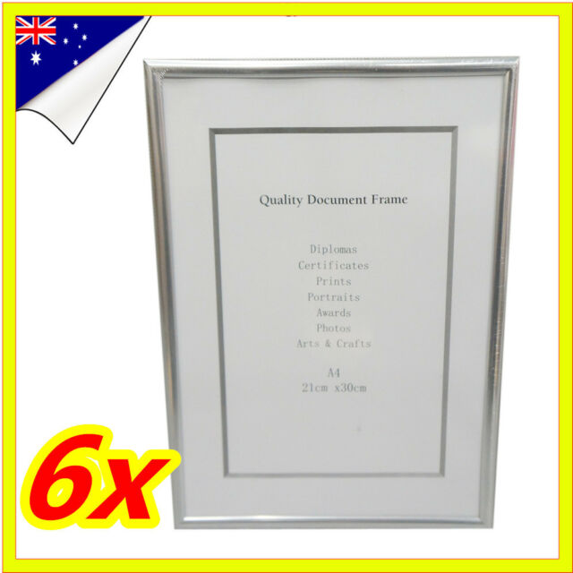 6 x white a4 size document certificate photo picture glass frame