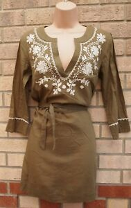 LAURA-ASHLEY-100-COTTON-KHAKI-GREEN-FLORAL-EMBROIDERED-LACE-BELTED-TOP-BLOUSE-8