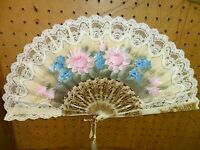 Vintage White Large Cloth And Lace Flower Fan