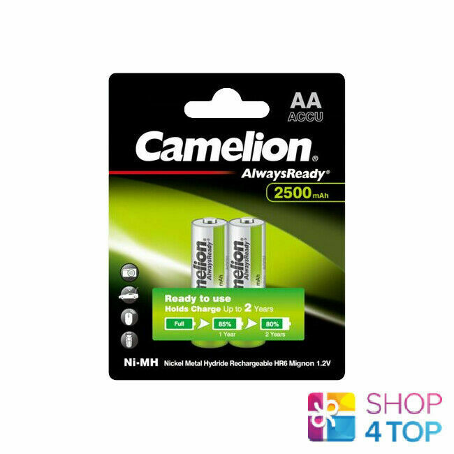 2 Camelion Aa Rechargeable Batteries Always Ready HR6 2500MAH 2BL Nimh Green New