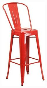 Flash Furniture 30&#034; High Red Metal Indoor-Outdoor Barstool CH-31320-30GB-<wbr/>RED-GG