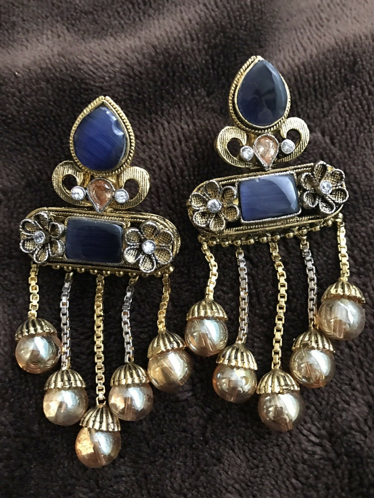 gold Plated Stone Jewelry Wedding Bridal Indian Mehndi Dangling Earings Formal